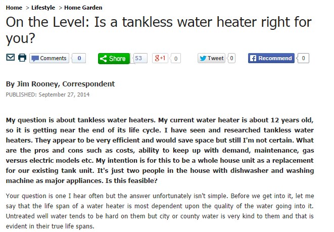 on the level-is a tankless water heater right for you