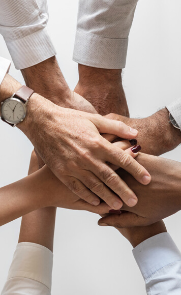 Hands joining together as a team
